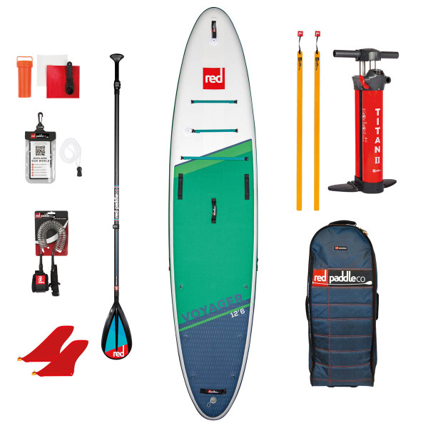 RED SUP Set VOYAGER 12'6'' x 32'' x 6'' MSL + Carbon 50-Nylon 3pc Paddle CamLock + Coiled Leash