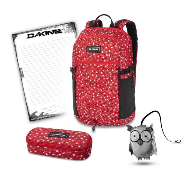 Dakine WNDR Pack 25L + School Case + Emma + Block Set de Escuela Crimson Rose