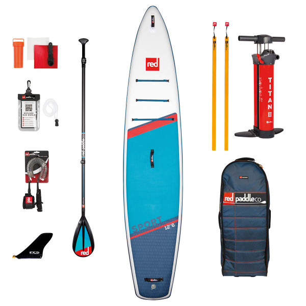 RED SUP Set SPORT 12'6'' x 30'' x 6'' MSL + Carbon 50-Nylon 3pc Paddle CamLock + Coiled Leash