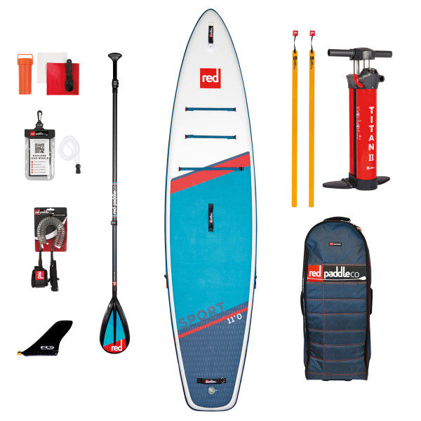 RED SUP Set SPORT 11'0'' x 30'' x 4,7'' MSL + Carbon 50-Nylon 3pc Paddel CamLock + Coiled Leash